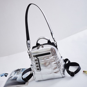 Image 4 - NIGEDU Glitter sırt çantası kadın omuzdan askili çanta çok fonksiyonlu gençler için sırt çantaları kızlar Schoolbag kadın sırt çantası seyahat çantası gümüş
