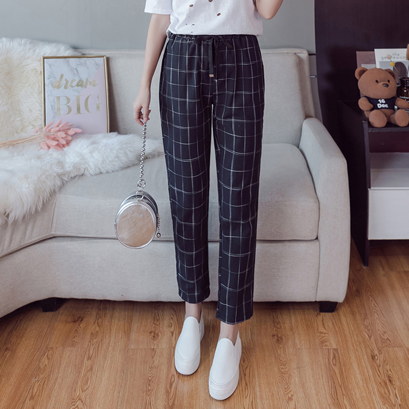 Make English plaid pants female easy to restore ancient ways recreational pants the spring and autumn period and the new female 4