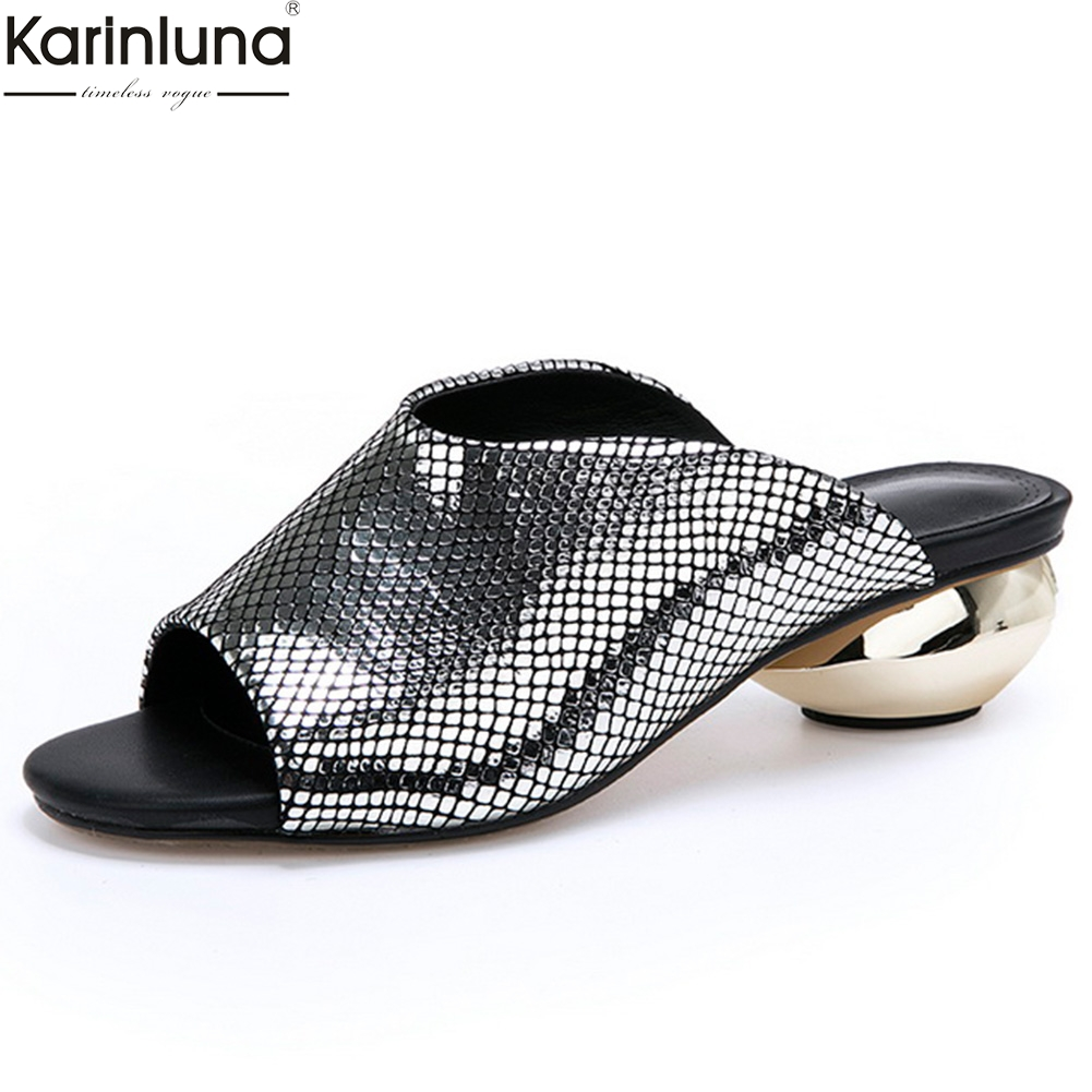 Karinluna high quality large size 32-42 sheepskin genuine leather summer pumps woman shoes peep toe lady mules shoes woman pumpsKarinluna high quality large size 32-42 sheepskin genuine leather summer pumps woman shoes peep toe lady mules shoes woman pumps
