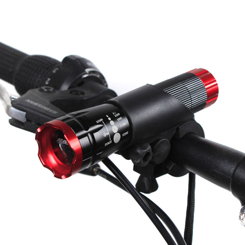 Protable CREE Q5 LED Bicycle frontal flashlight Torch 1600 Lumens 3 Mode Bike Light Waterproof flashlight + Holder Clip mount have safety warning strobe mode waterproof zoom cree q5 led flashlight with clamp holder bicycle lights bike portable lighting
