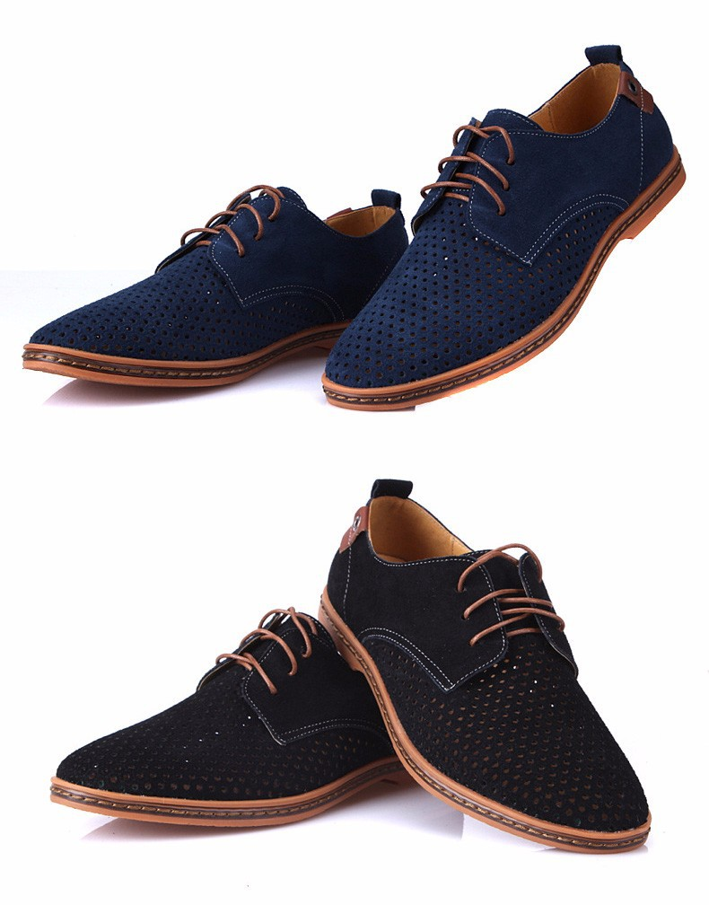 ROXDIA Fashion Suede Men's Driver Breathable Lace Up Flat Casual Shoes