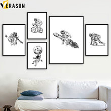 Black White Astronaut Rocket Moon Bicycle Wall Art Canvas Painting Nordic Posters And Prints Pictures For Living Room Decor