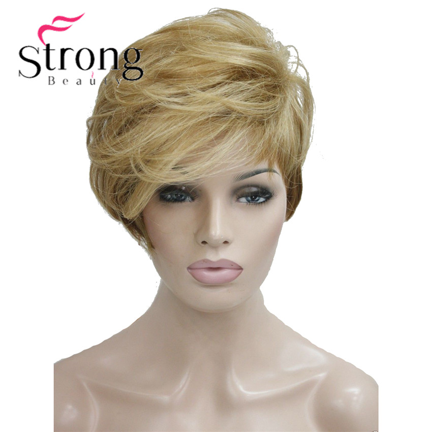 StrongBeauty Short Soft Asymmetrical Golden Blonde to Brown Ombre Wig heat freindy Full Synthetic wig COLOUR