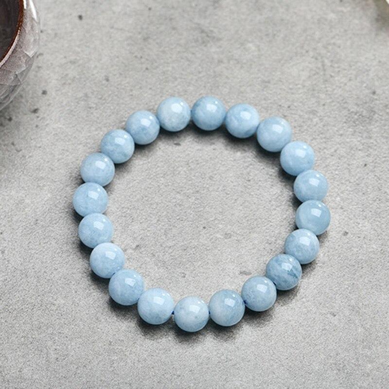 HTB1XKpNKeuSBuNjy1Xcq6AYjFXaC Natural Aquamarine Bracelet Single Circle Crystal Bracelet Jewelry 6-10mm Beads Romantic Casual Crystal Yoga Bracelet