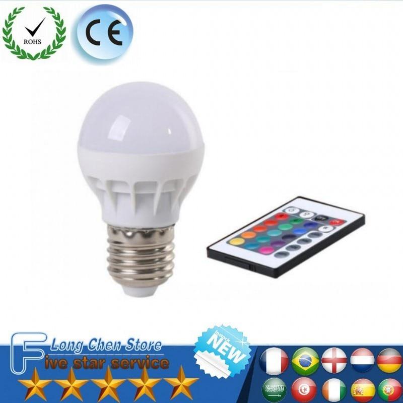 LED Bulb RGB Lighting Lamp With IR Remot E27 B22 GU10 E14 6W LED Bulb RGB Sopt Light AC 85-265V Energy Saving 16 Color Change