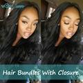 7A Brazilian Body Wave With Closure 3Bundles Brazilian virgin hair  With Closure 100 Unprocessed Sugar Virgin Hair With Closure