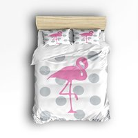 Queen Size Bedding Set Pink Flamingo Grey Polka Dot Print Duvet Cover Set Bedspread for Childrens/Kids/Teens/Adults, 4 Piece