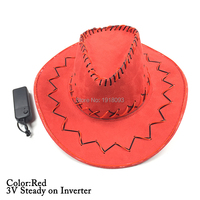 Glowing Cowboy Hat+3V Steady on Inverter LED Strip EL Wire Glowing Product Halloween Glowing Props For Festival Party Supplies