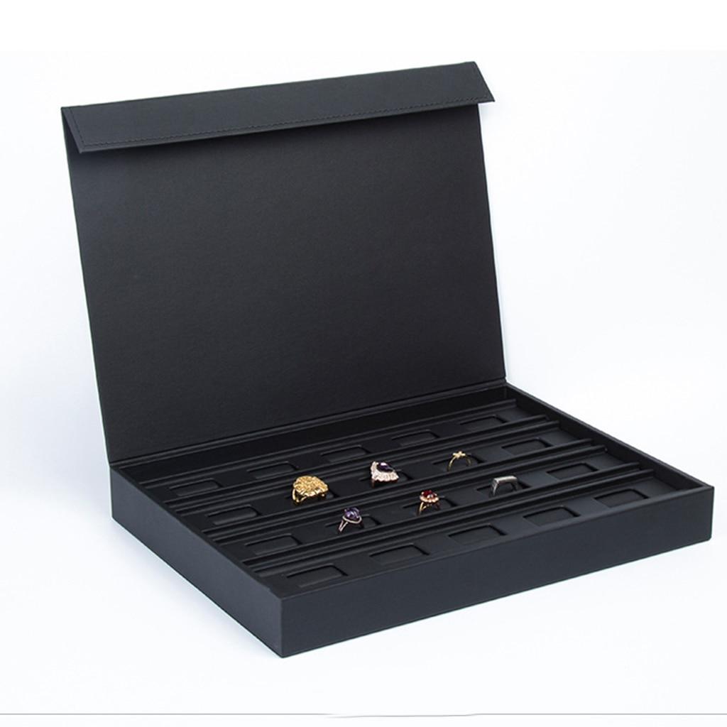 PU skóra gablota jubilerska pudełko do przechowywania taca pierścień wizytówką organizator Holder 34x25x4.5 cm w Pakowanie i ekspozycja biżuterii od Biżuteria i akcesoria na  Grupa 2