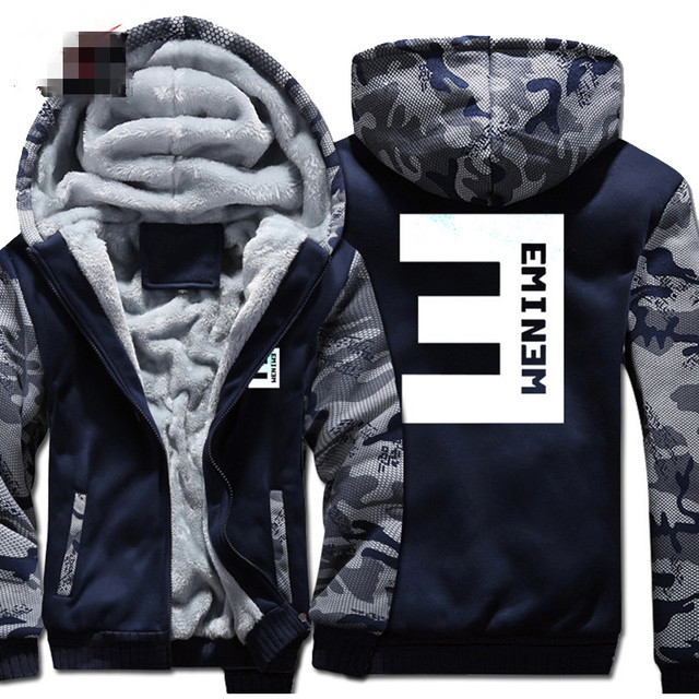 cc2bc1a3c434 New Eminem Hoodies Warm Jackets Men Winter Hip Hop Coat Fashion Men Thicken  Zipper Striped Patchwork Hooded Sweatshirts Tops