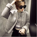 2016 new women's spring autumn Glisten Retro Wild Coarse lines Blending Fluffy cargigans Sweater women short style knit jacket