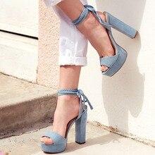 купить Woman Sky Blue Suede Chunky Heel Sandals High Heeled Platform Dress Shoes Ankle Braided Tied Up Ultra High Heel Shoes Big Size дешево