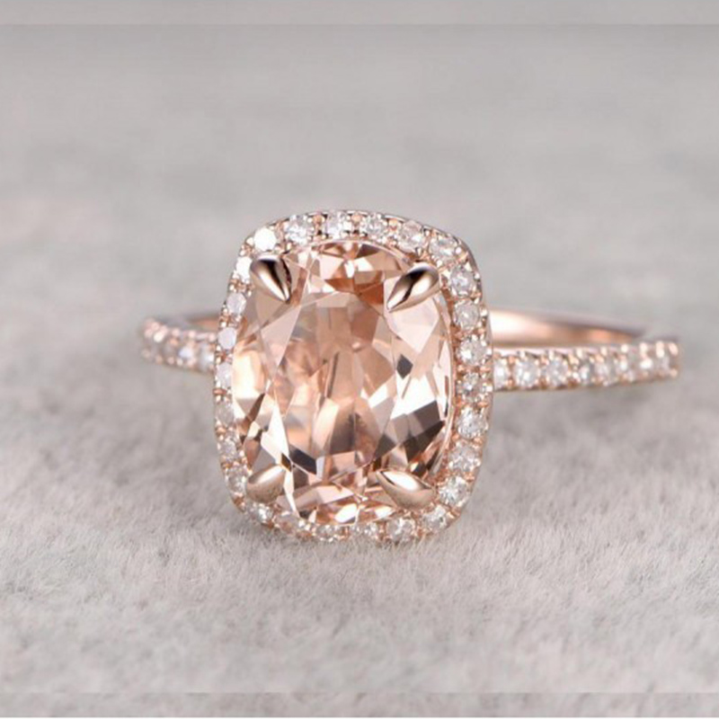 Marcatsa Jewelry Engagement-Rings Champagne Crystal Rose-Gold Wedding-Cubic-Zirconia-Ring
