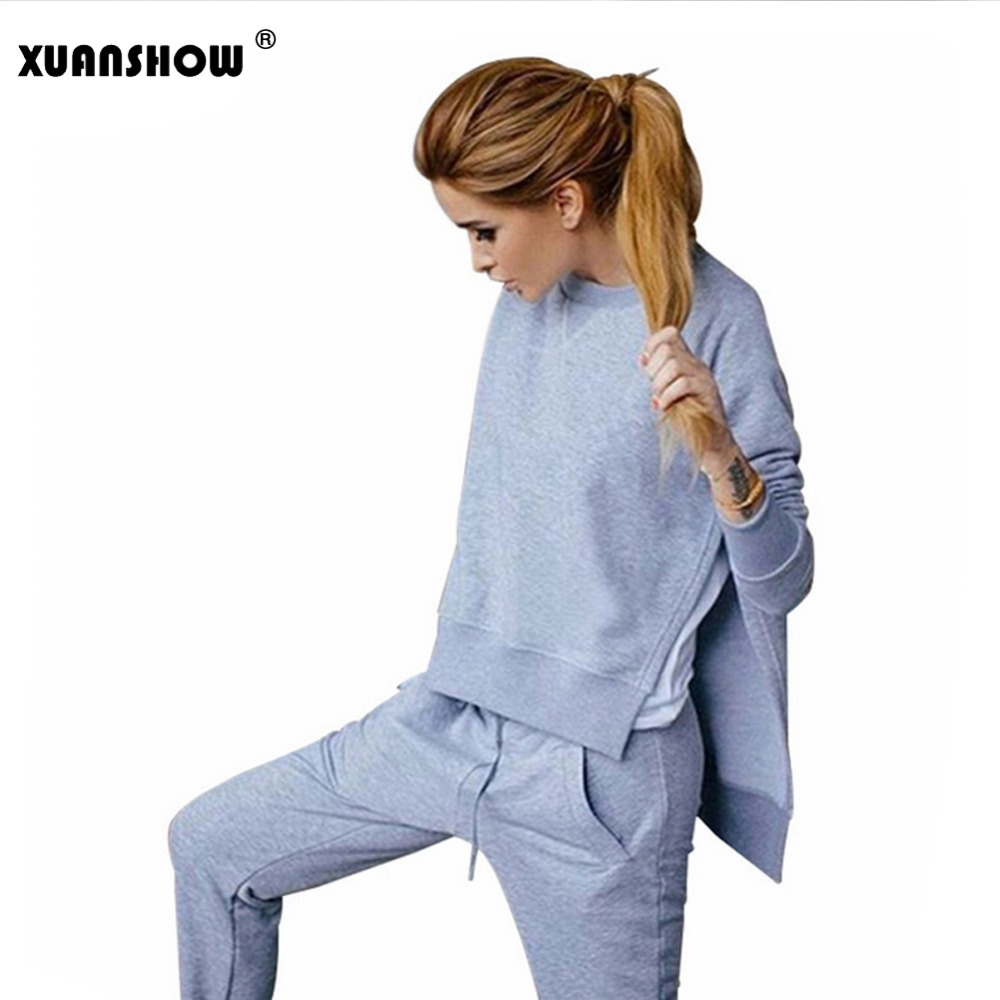 XUANSHOW Ladies Outfit Tracksuits Women Cotton Hoodies Sweatshirt + Long Pants Suit Sportwear Costumes Pant Set 2 Piece Suits
