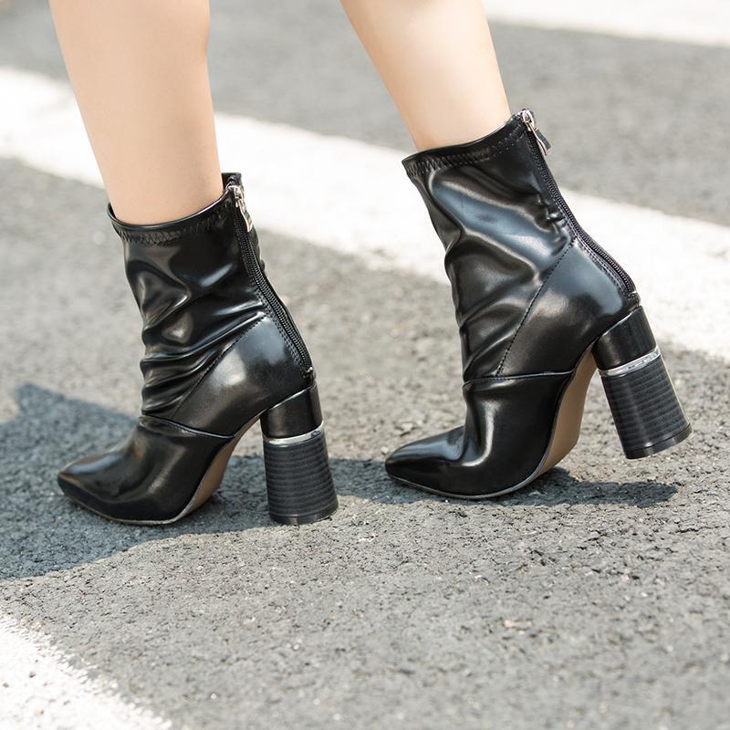 US $102.68 |Pu Leder Frauen Stiefel Spitz High Heel Stiefel Marke Design Winter Stiefel Kendall Stiefel SWE0066 in Pu Leder Frauen Stiefel Spitz High