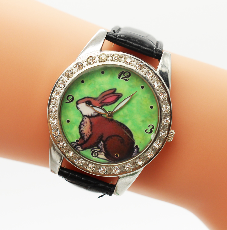 Fashion Cute Children's Watch Cartoon Rabbit PU Leather Wristwatch Quartz Watch For Girls Students Kids Cock