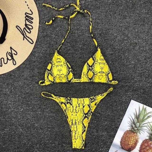 077cd3659396f 2019 New High Waist Bikini set Yellow Bandeau Swimsuit Sexy Print Thong  Bikini Women Swimwear Two-pieces Bather Bathing Suit