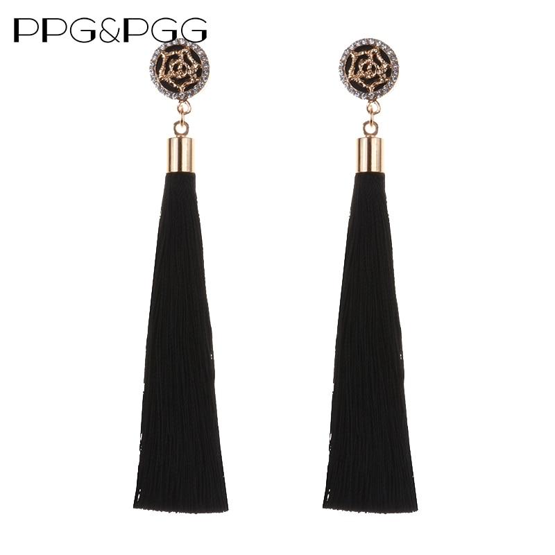 PPG & PGG Nuovo stile Etnico Lunga Nappa Orecchini per le donne di Cristallo di Modo Dei Monili Del Fiore nero colori blu e rosso doni femminili