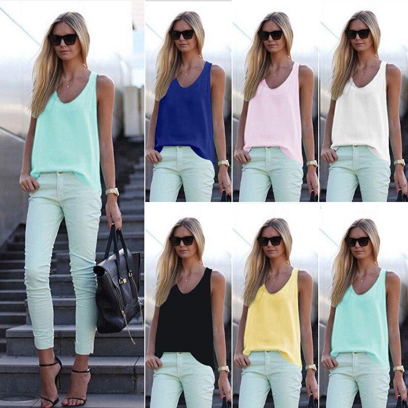 Women Chiffon   Tanks   Ladies Sleeveless V-neck   Tops   Summer T Shirt Female   Tank     Tops   Camisole Blusas Femininas S-3XL Plus Size