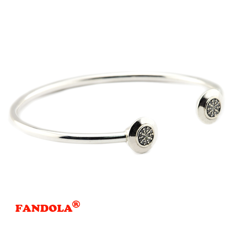 Compatible with European Jewelry Round Signature Open Bangle with Clear Cubic Zirconia 925 Sterling Silver Jewelry Free Shipping