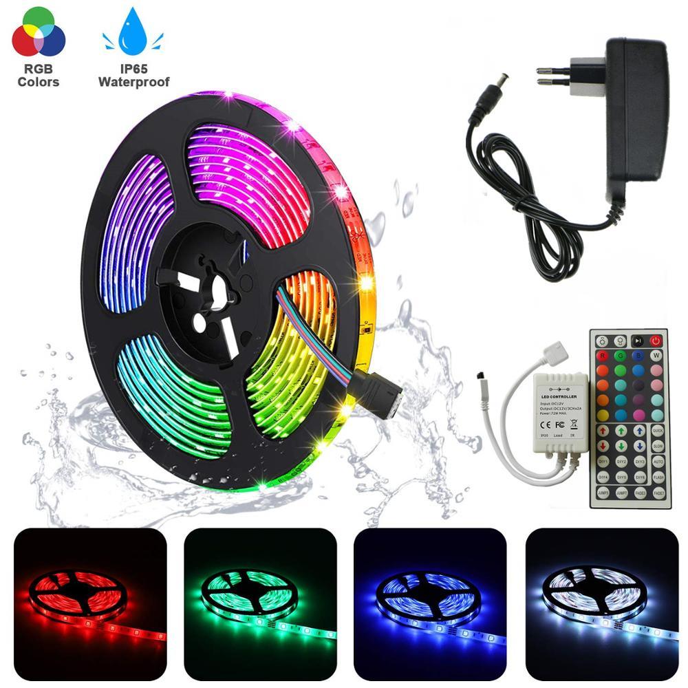 5M SMD 5050 Flexible RGB Tape Ribbon+44key LED Controller+DC 12V Power Adapter 10M 15M 30leds/m LED Rope Strip Light For Home