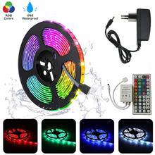 цена на 5M SMD 5050 Flexible RGB Tape Ribbon+44key LED Controller+DC 12V Power Adapter 10M 15M 30leds/m LED Rope Strip Light For Home