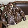 Cuero de la vaca de los hombres chaqueta chaqueta de traje de vuelo de cuero genuino del zurriago A1 A-1 Aeronauta