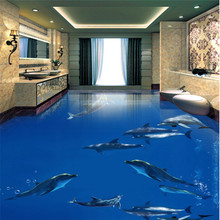 beibehang Large Custom Nonwovens Wallpapers Dolphins Dance Underwater World 3D Stereo Bath Living Room Floor Paintings(China)