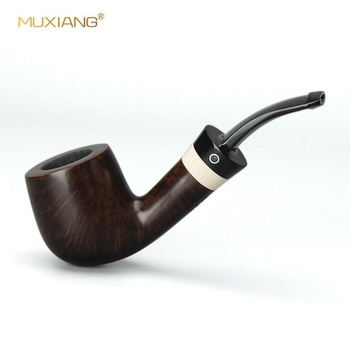 MUXIANG  Saddle Bent Smooth Briar wooden Tobacco Pipe Smoking Pipes with 9mm Imitation Ivory Handle Rings aa0115s