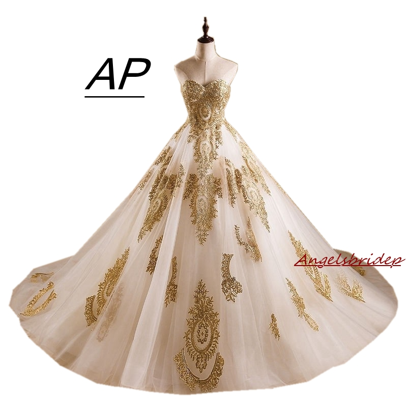 1543fead410db ANGELSBRIDEP Quinceanera Dresses 2019 Sweetheart Gold Appliques Court Train  Vestidos De 15 Anos Ball Gown Debutante Gown Hot