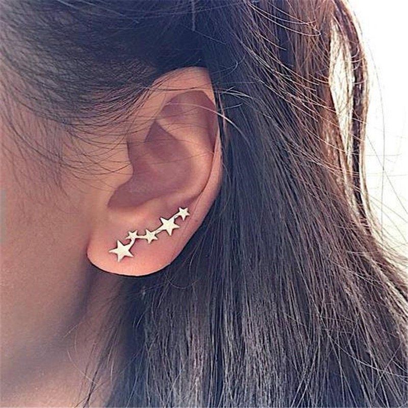 Korean fashion Simple New Star Earrings Exquisite Creative Clip On Stud For  Women