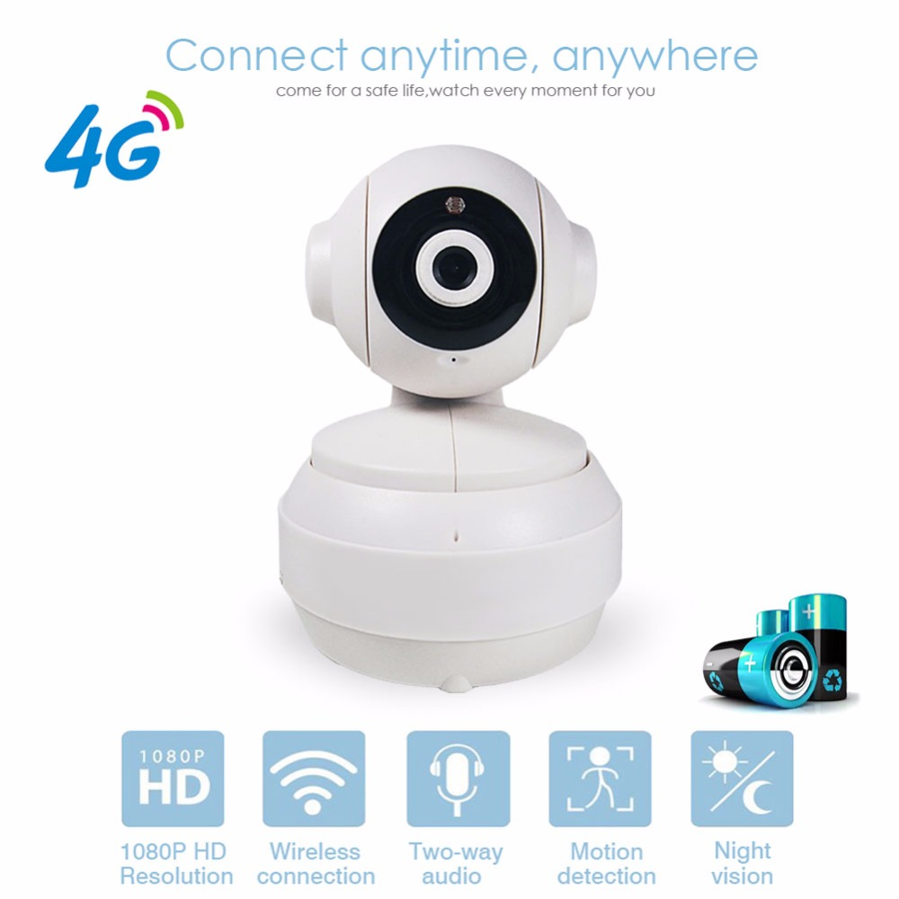 3G 4G GSM SIM Card Mobile IP Camera CCTV 1080P HD PTZ Wireless Battery P2P Network Video Home Security Baby Monitor Two way Aud