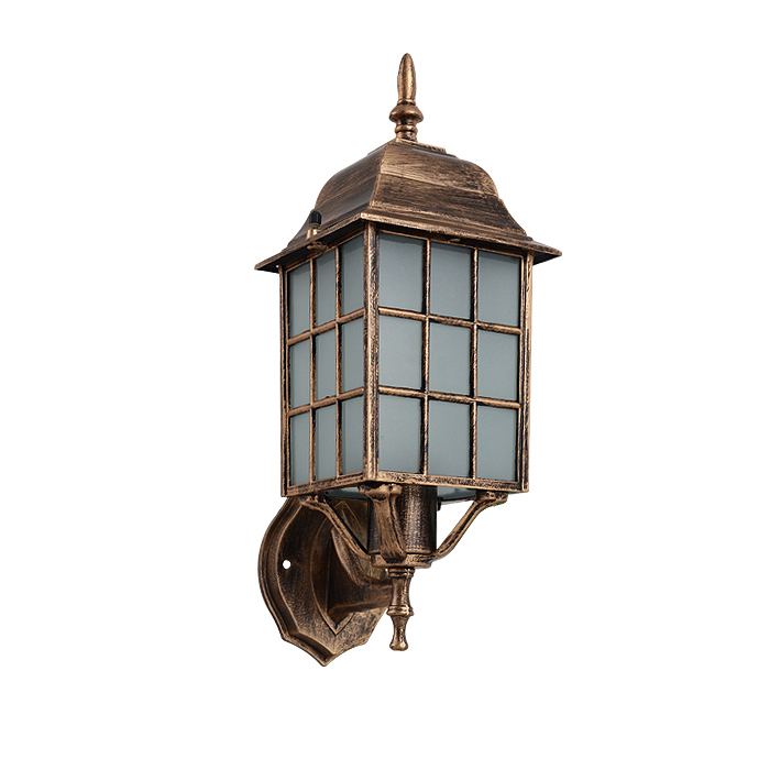 American vintage bronze aluminum waterproof outdoor wall sconce lamp European retro scrub glass E27 LED bulb wall light fixture светильник спот ideal lux page page ap1 round bianco