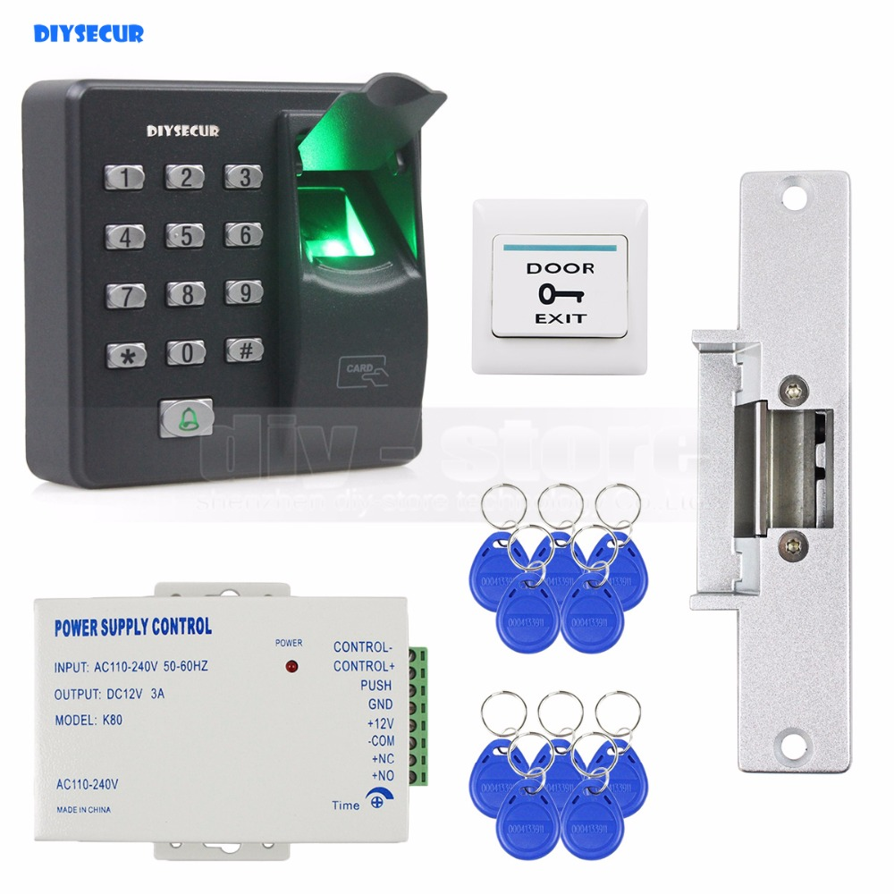 DIYSECUR Biometric Fingerprint RFID 125KHz Password Keypad Door Access Control System Kit + Strike Lock