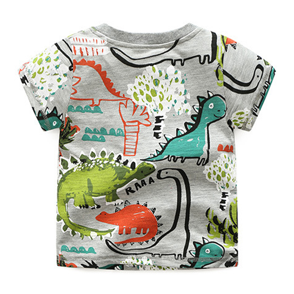 Summer Boys Colorful Dinosaur forest print T-<font><b>shirt</b></font> Cotton Short Sleeves Kids <font><b>Shirts</b></font> Child Casual Round neck <font><b>basic</b></font> T-<font><b>shirt</b></font> Tops image