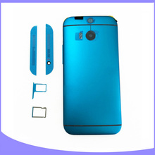 Original new metal back case housing for HTC one M8 battery cover door with sim tray + sd tray+ top & bottom cover