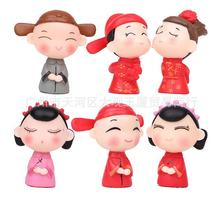 (6pcs/lot) action figure bride and groom cute small lovely miniature figurines Toys 3cm PVC decoration