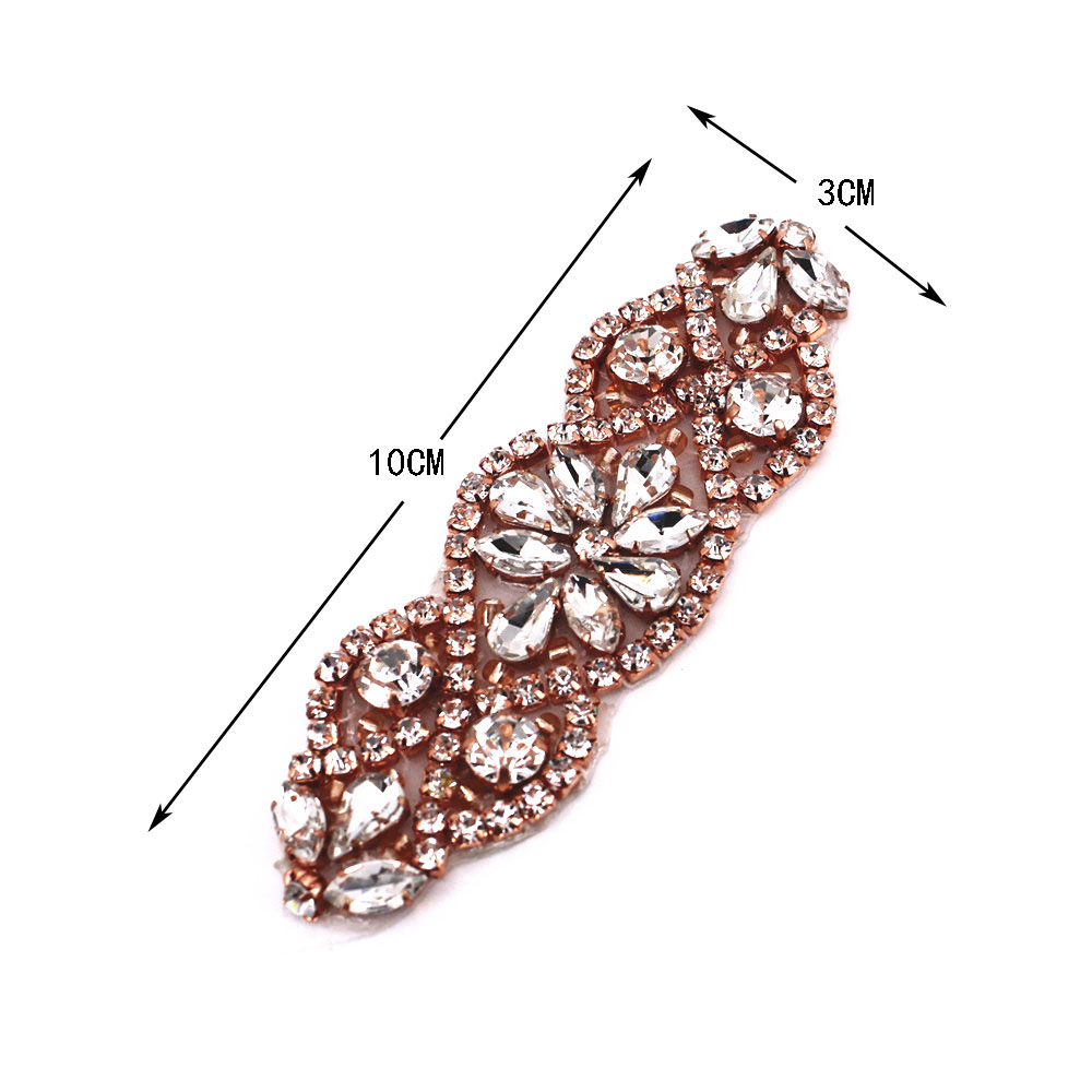 Handmade Rose Gold Rhinestone Applique Patch For Evening Gown Dress Prom Bridal Wedding Dress Sash Belt Applique With Crystals