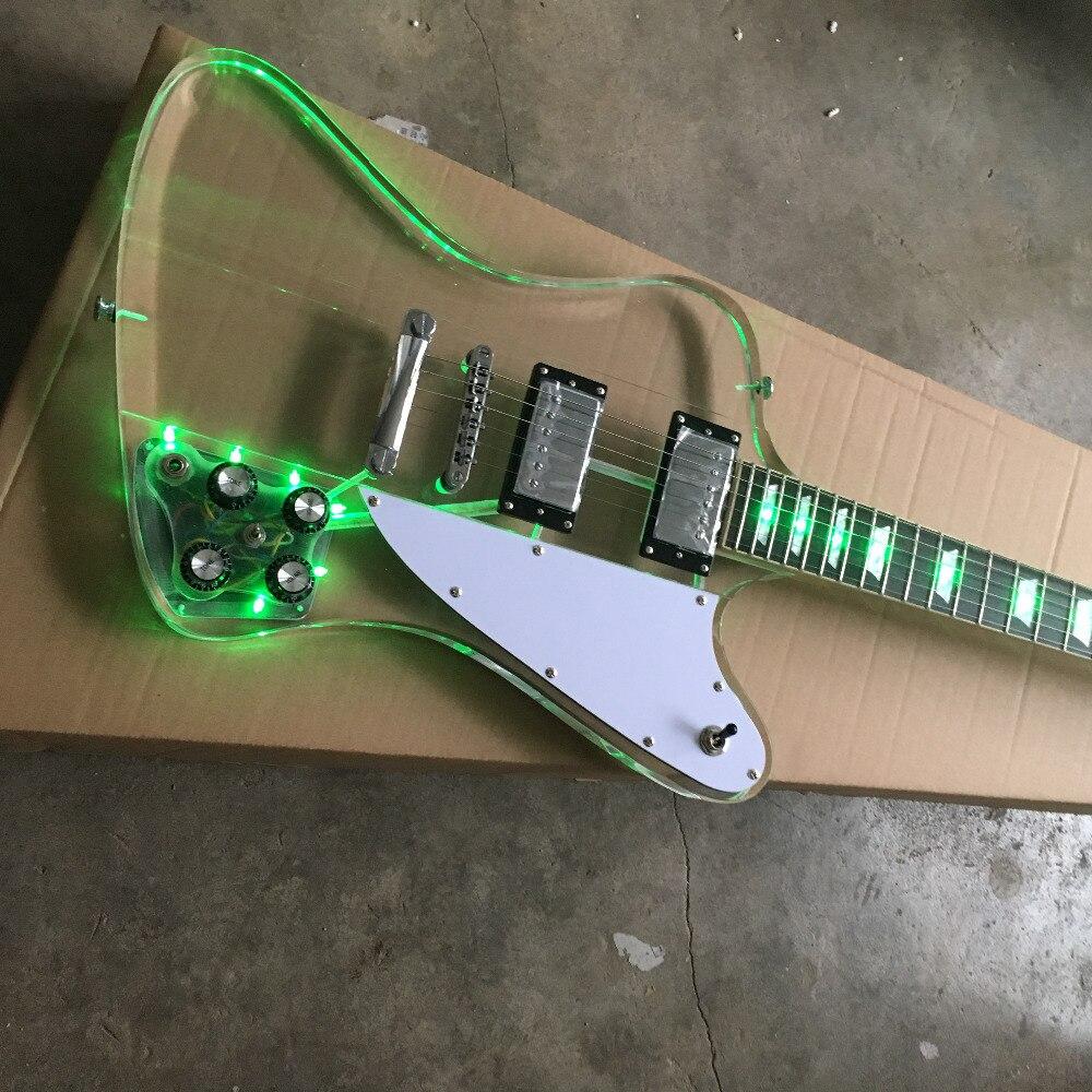 Usine personnalisé acrylique Firebird guitare électrique touche et corps Transparent avec LED, photo réelle montrant, vente en gros
