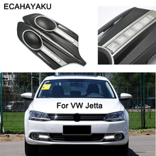цена на ECAHAYAKU 1Pair DRL For Volkswagen V W J-etta Sagitar 2012 2013 Daytime Running Lights Fog head driving Lamp cover Daylight