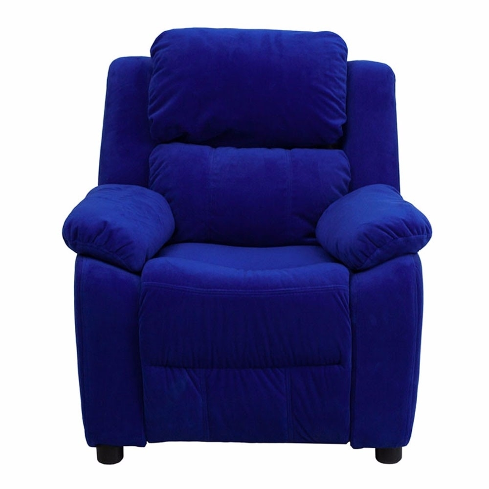 Flash Furniture Deluxe Heavily Padded Contemporary Blue Microfiber Kids Recliner with Storage Arms [863-BT-7985-KID-MIC-BLUE-GG]