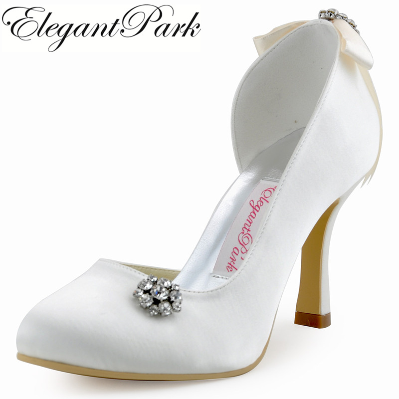 юбка only 115137003 [618 274 5 Women Wedding Shoes E0618 White Ivory High Heel Pumps Rhinestones Satin Lady Woman Shoes Bridal Heels