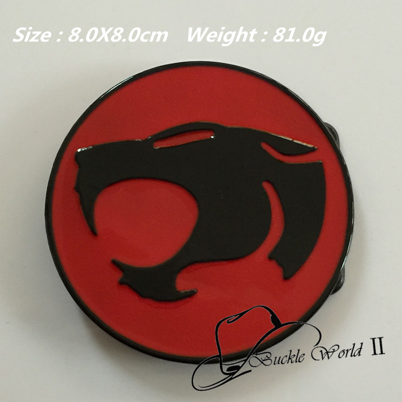 Retail New Thunder Cat cowboy Belt Buckle For Men Women Jeans accessories for 4cm Wide belt 8*8cm 81g Round Red Black Metal