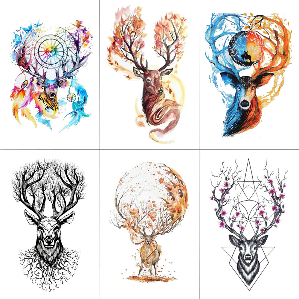 HXMAN Watercolor Deer Temporary Fake Tattoo Body Art Sticker Animal Waterproof Women Men Hand Tattoo Hot Design 9.8X6cm A-118