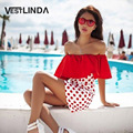VESTLINDA Beach Dresses Off Shoulder Polka Dot Print Mini Dress Women Straight Sleeveless Ruffles Beachwear Sexy Summer Sundress