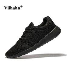 Viihahn Men Casual Shoes Black Color Flats Walking Shoes Men Breathable Zapatillas Shoes Plus Size 40-46