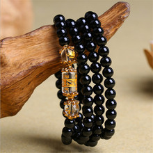 natural Obsidian Zodiac Animal Buddha Wrap Bracelet  1147