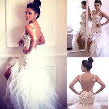 2015 Mermaid Wedding Dresses Lace Appliques Custom Backless Hi low Spaghetti Straps Organza Ruffles Bridal Gowns