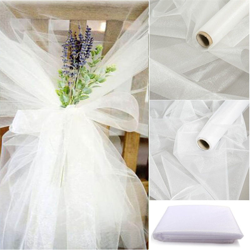 48cmx5m Mariage Crystal Yarn Tulle Roll Sheer Wedding Backdrop Decoration Organza Fabric Chair Sash Table Skirt DIY Supplies(China)