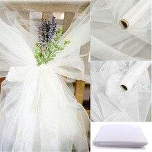 48cm x 5m Mariage hilo de cristal rollo de tul transparente boda telón de fondo decoración silla con tejido de organza fajín Mesa falda DIY suministros